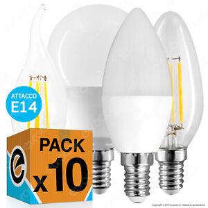 10-LAMPADINE-LED-E14-3w-a-9w-Lampada-FILAMENTO-Candela-Oliva-Miniglobo