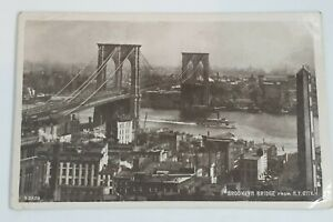 1909-Brooklyn-Bridge-From-N-Y-City-Real-Photograph-Postcard-To-Austria