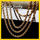 24K YELLOW GOLD FILLED ROPE TWIST CHAIN WOMEN MEN SOLID CHARM 16-30INCH NECKLACE