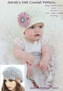 c3bca301093 Image is loading CROCHET-PATTERN-for-Sarah-039-s-Beanie-hat-