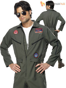 0514ac56ed0a Mens Top Gun Deluxe Pilot Costume Adults Aviator Jumpsuit Fancy ...