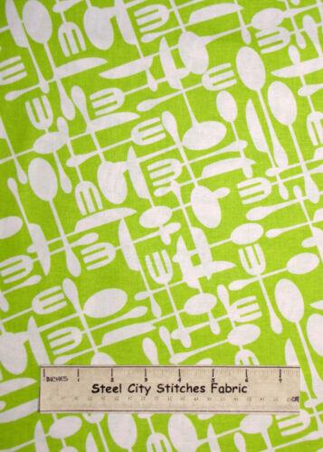 Timeless Treasures Tenedor Cuchillo Cuchara Cocina comer alimentos verde patio de tela de algodón