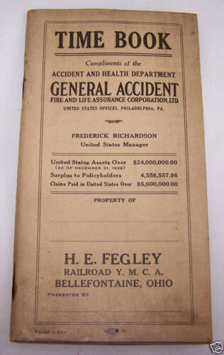 1931 GENERAL ACCIDENT RAILROAD EMPLOYEE TIMETABLETRAIN