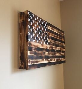 ... Burnt American Flag Wooden Gun Rack Hidden Gun