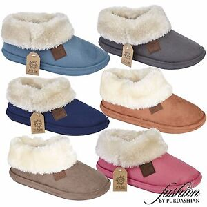 Ladies Slipper Boots Suede Fur Lined