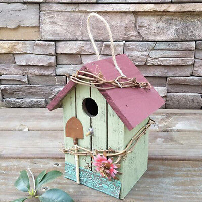 Hand-painted Wooden Birdhouse with Jute Cord Home Outdoor Garden Decoration