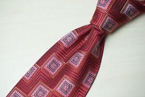 Ermenegildo Zegna Cherry Red Abstract Floral Postage Stamp Silk Tie