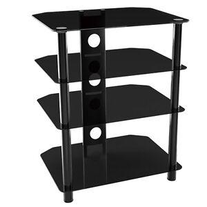 g vo black glass hifi av dvd ps3 wii xbox amplifier speaker rack stand 4 shelf ebay. Black Bedroom Furniture Sets. Home Design Ideas