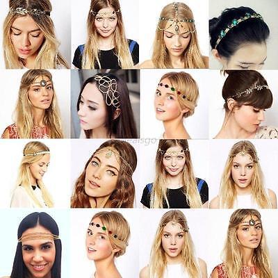 Fashion Summer Women Lady Metal Rhinestone Head Chain Jewelry Headband Hair Band