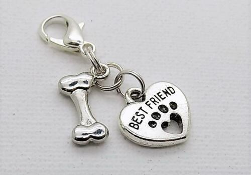 BEST FRIEND Cat Dog Kitten Puppy HEART /& BONE COLLAR TAG CHARM