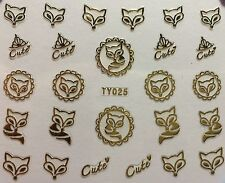 Nail Art 3D Decal Stickers Cute Gold Fox Foxy TY025