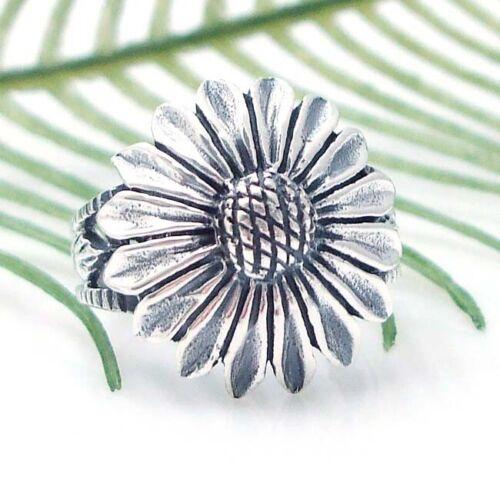 Huge Summer Sunflower//Flower .925 Silver Ring-7