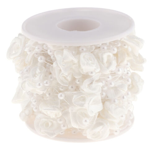 10m Pearls Beads String Rose Flower Chain Roll Wedding Party Door Curtain Decor
