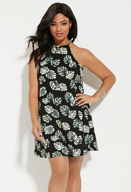Forever 21 Plus Size Black Green Palm Leaf Dress 1X