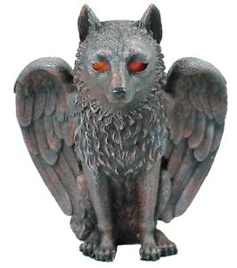Dekofigur-Fantasy-Wolf-mit-Teelicht-Windlicht-Kerzenhalter-Gothic-Mystery