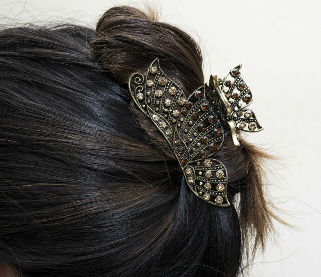 New Fashion Browns Crystal Bronze Metal Alloy Butterfly Hair Claw Clip Pin 198