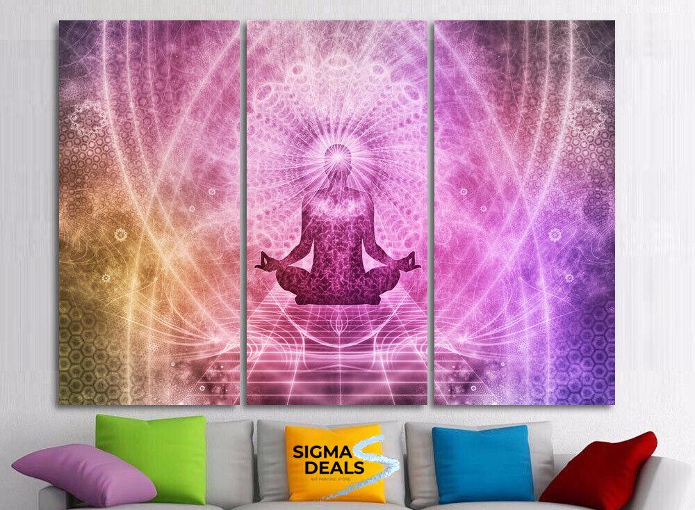 Framed Yoga Meditation Chakra Aura 3 Piece Canvas Print Wall Art Decor