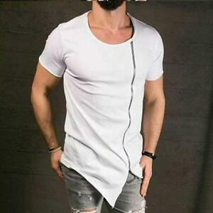 Men-039-s-T-Shirt-Lot-Long-Extended-Basic-Fashion-Tee-Casual-Tee-Hip-Hop-Crew-Neck