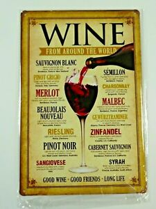 PLAQUES-TOLEE-vintage-20-X-30-cm-VINS-WINES-FROM-AROUND-THE-WORLD