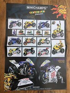 MINICHAMPS-2007-Valentino-Rossi-Collection-A3-poster-MotoGP-bikes-helmet-figure