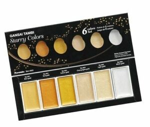 ZIG-Kuretake-Gansai-Tambi-Metallic-Watercolour-6-colours-set-Gold-Starry-Colours