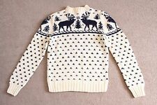 Vintage 80s Handknit Womens Sweater Size M Wool Blend Reindeer Ugly Christmas