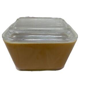 VINTAGE PYREX BUTTERSCOTCH GOLD # 501 B 12 oz 1 1/2 Cup Refrigerator Dish
