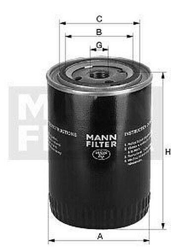 Filtro de Aceite Mann Filter Para : Ammann, Bomag , Deutz Ag (Engines ),