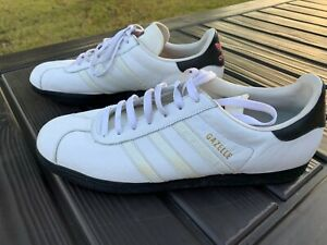 Adidas-Gazelle-Mens-White-Tonal-Leather-Casual-Lace-Up-Sneaker-Size-12D