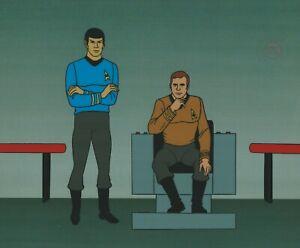 Star-Trek-Sericel-1995-cel-Filmation-1973-Spock-James-T-Kirk-at-the-helm