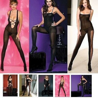 Opaque Bodystocking with Open Crotch Unitard Nylon O/S or Plus Bodysuit Shaper