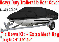 14' 15' 16' V-hull Fish - Ski I/o Trailerable Boat Cover Black Color All Weather