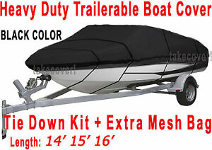 14-039-15-039-16-039-V-Hull-Fish-Ski-I-O-Trailerable-Boat-Cover-Black-Color-All-Weather