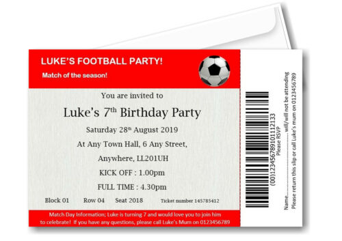 12 Personalised Football Ticket Birthday Party Invitations Invites boy girl F1