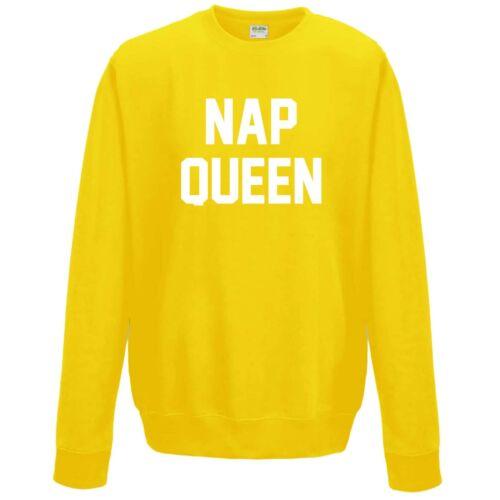 GRUNGE STUDENT FUNNY SLEEPING white on yellow JH030 NAP QUEEN SWEATSHIRT