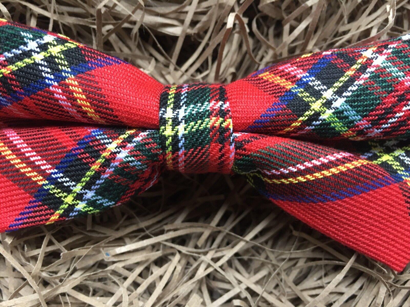 Tartan Bow Tie / Red Tartan Mens bow Tie / Red Plaid Mens Wool Bow Tie
