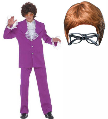 Austin Powers Mojo Groovy Homme Hommes 60 S costume robe fantaisie Cerf PERRUQUE Lunettes