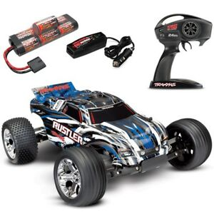 Traxxas-Rustler-XL-5-BLUE-RTR-RC-Truck-w-Battery-amp-Quick-Charger-FREE-SHIPPING