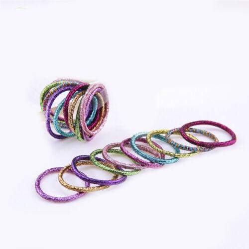 10Pc Glitter Shining Lots Kids Scrunchie Elastic Hair Band Girl Rubber Band Tie