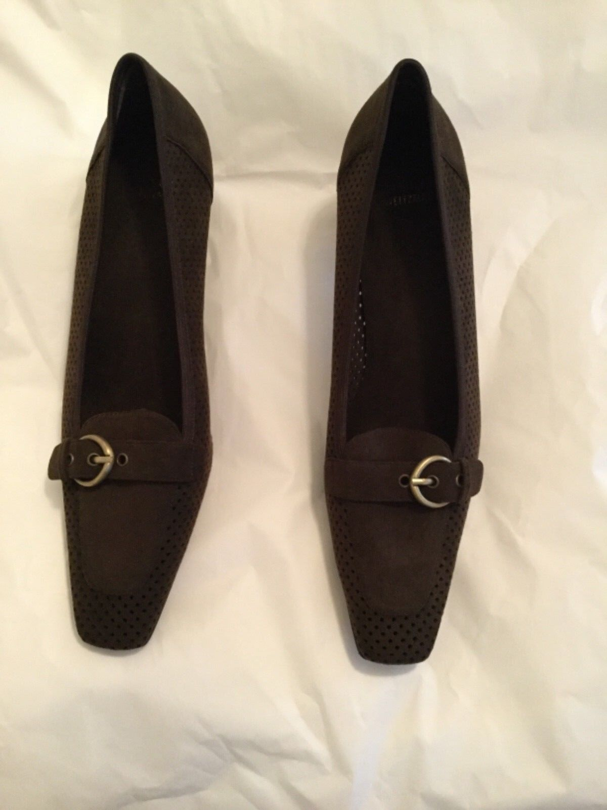 NEW Stuart Weitzman Brown Perforated Suede Heeled Loafers - 11N