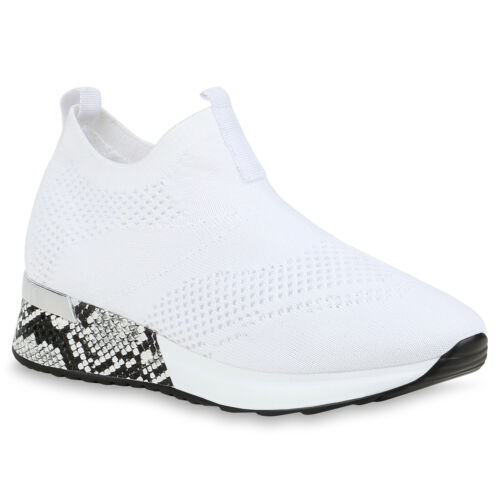 Damen Sportschuhe Slip On Sneaker Strick Turnschuhe Snake 833977 Trendy Neu