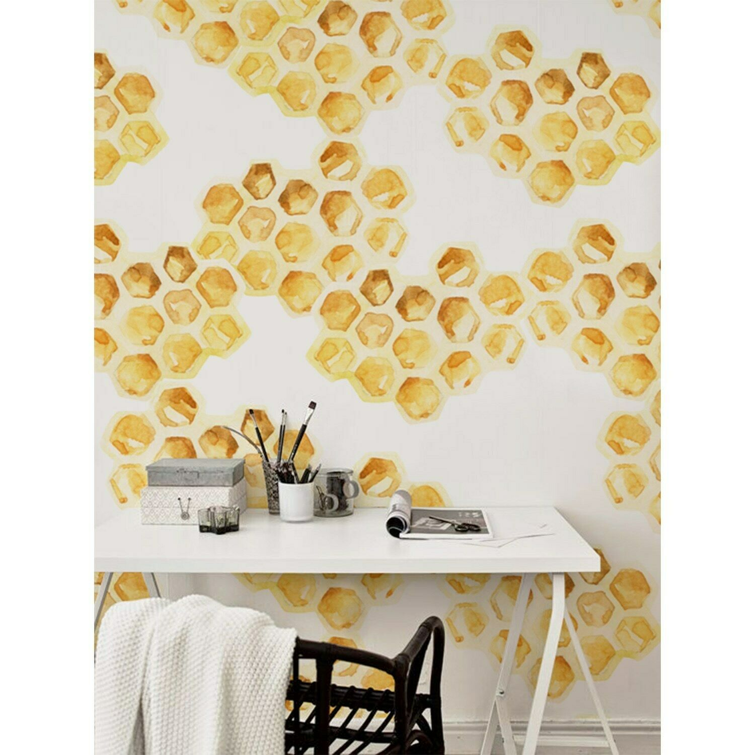 Honeycomb Non-Woven wallpaper Hexagon Pattern Accent wall Traditional Mural