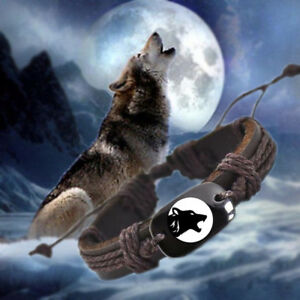 Howling-Wolf-with-Moon-Vegan-Leather-Adjustable-Bracelet-Free-Shipping-USA