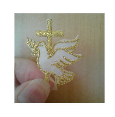 Cross Embroidered Iron On Applique Patch Easter Holy Spirit Dove