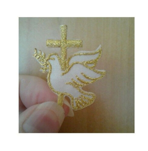 Gold//White Dove W//Cross Embroidered Iron On Applique Patch Holy Spirit