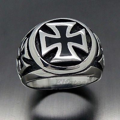 Mens Silver Black IRON Cross 316L Stainless Steel Biker Ring