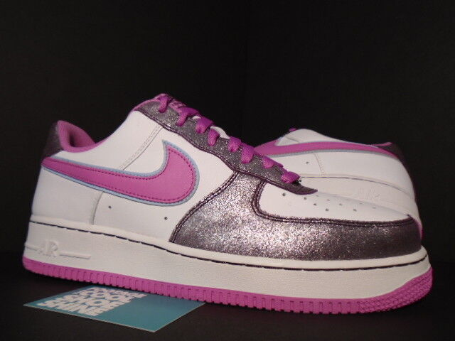 2007 Nike Air Force 1 '07 Low WHITE COOL ROSE PINK AUBERGINE PINK BLUE 12 10.5