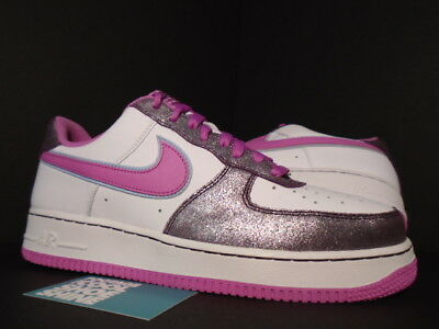 2007 Nike Air Force 1 '07 Low WHITE COOL ROSE PINK AUBERGINE PINK BLUE 12 10.5 | eBay