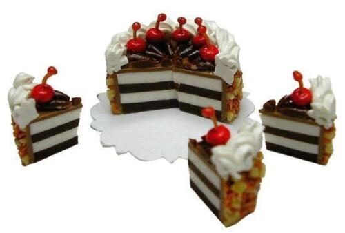 Dollhouse Miniature -- Chocolate Cherry Topped Cake - Sliced - 1:12 Scale