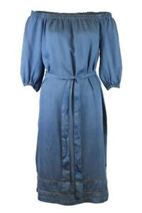 RRP-39-50-Womens-Pale-Blue-Bardot-3-4-Sleeve-Chambray-Tencel-Midi-Dress